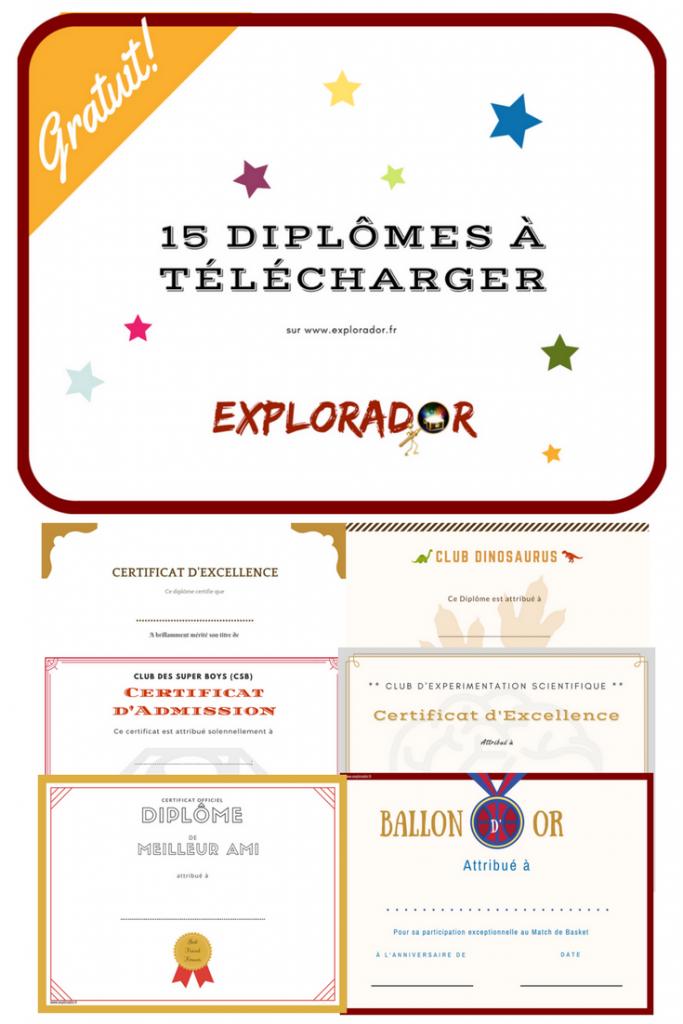 Modeles De Diplomes A Imprimer Pour Les Enfants A Cacher Dans Le Coffre Au Tresor Ou A Offrir En Souvenir Explorador