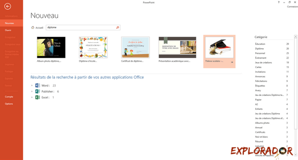 creer diplome powerpoint explorador