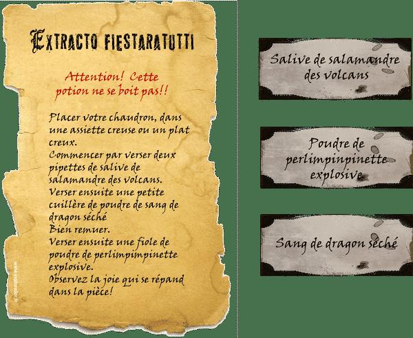 parchemin potion magique printable