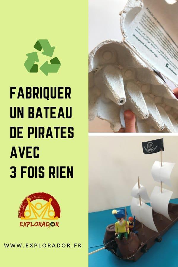bricolage boite oeufs bateau pirate