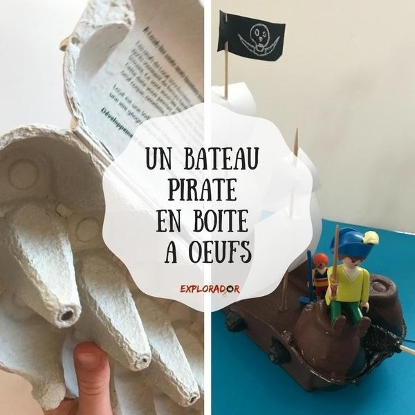 un bateau pirate en boite oeufs