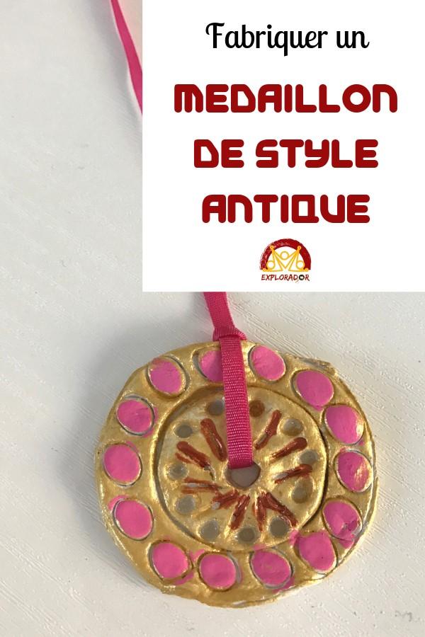 fabriquer medaillon antique avec les enfants