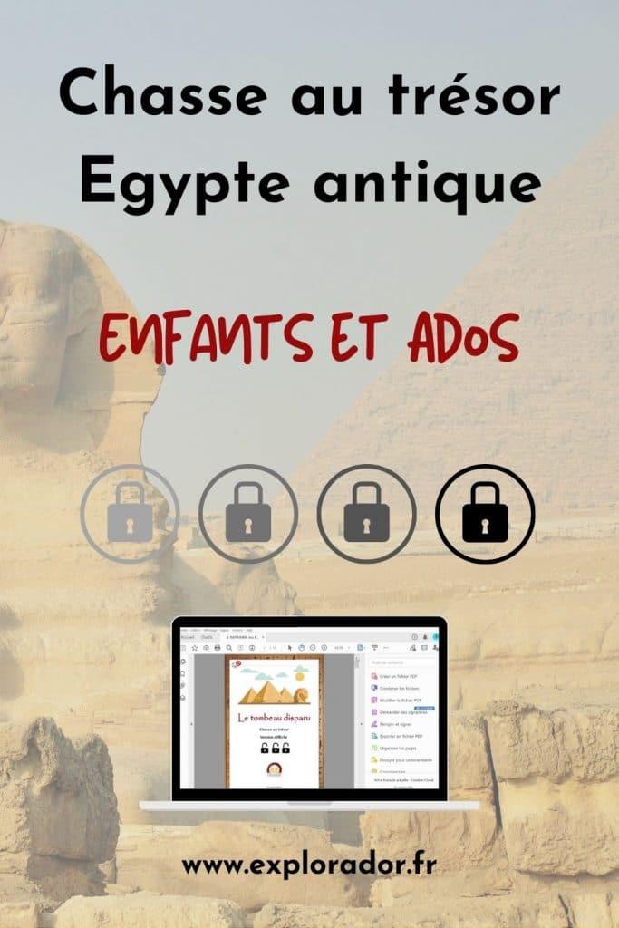 chasse au tresor egypte antique enfants ados